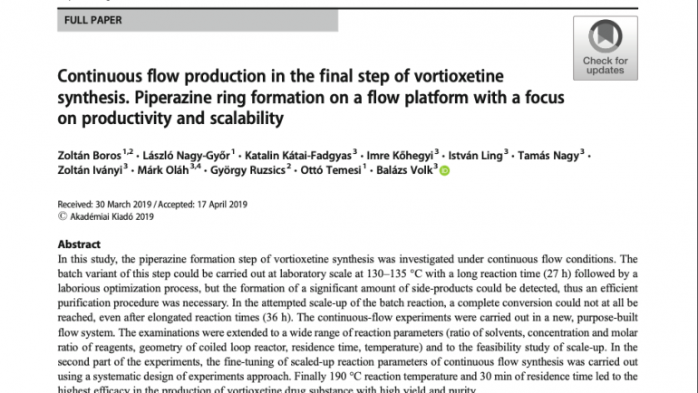 Publication: Journal of Flow Chemistry